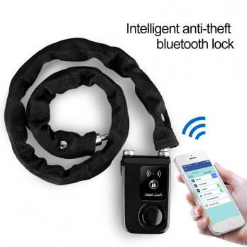 Замок с сигнализаций для велосипеда Bluetooth Smart Lock with Alarm (крупная цепь)